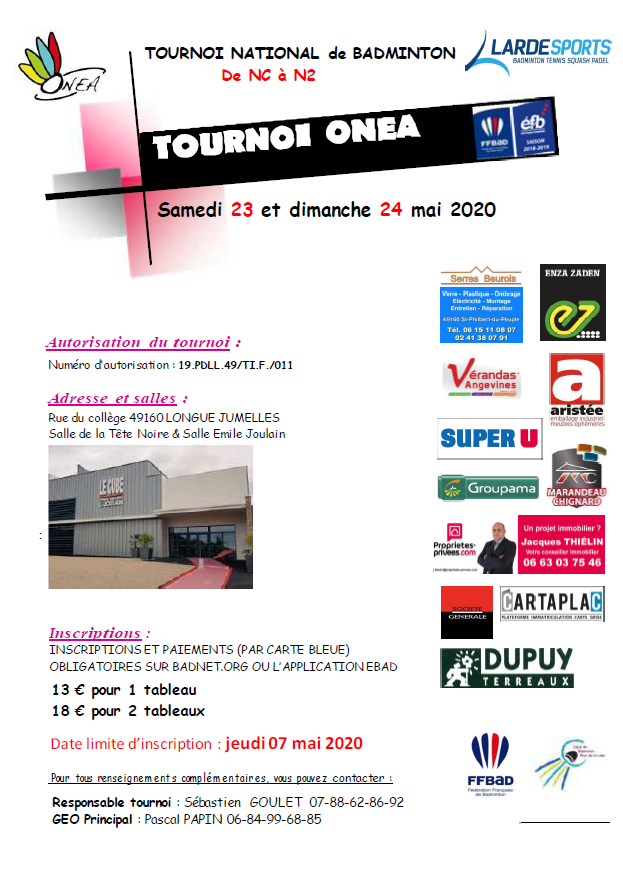Tournoi Badminton LONGUE-JUMELLES