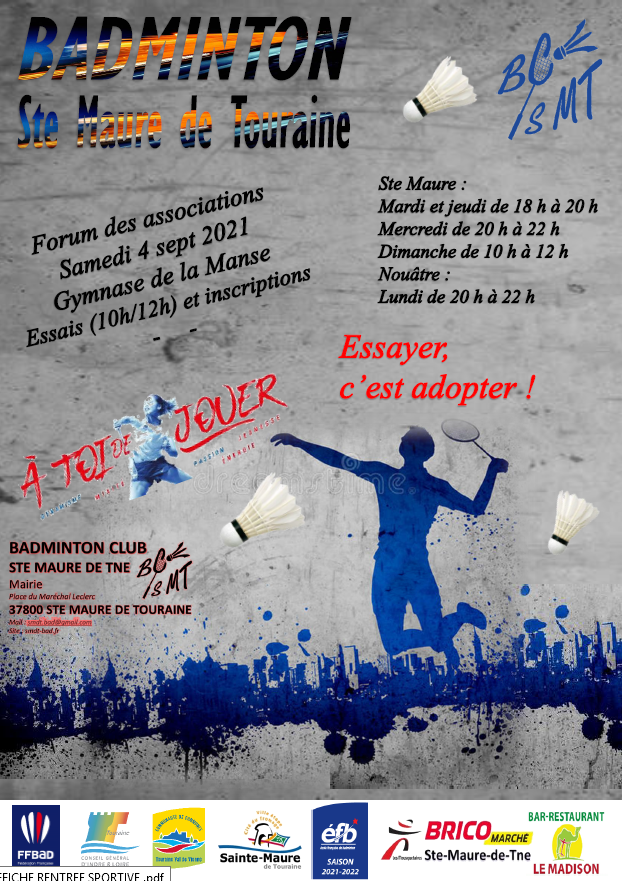 Rentrée Sportive à Sainte Maure de Touraine 2021/2022